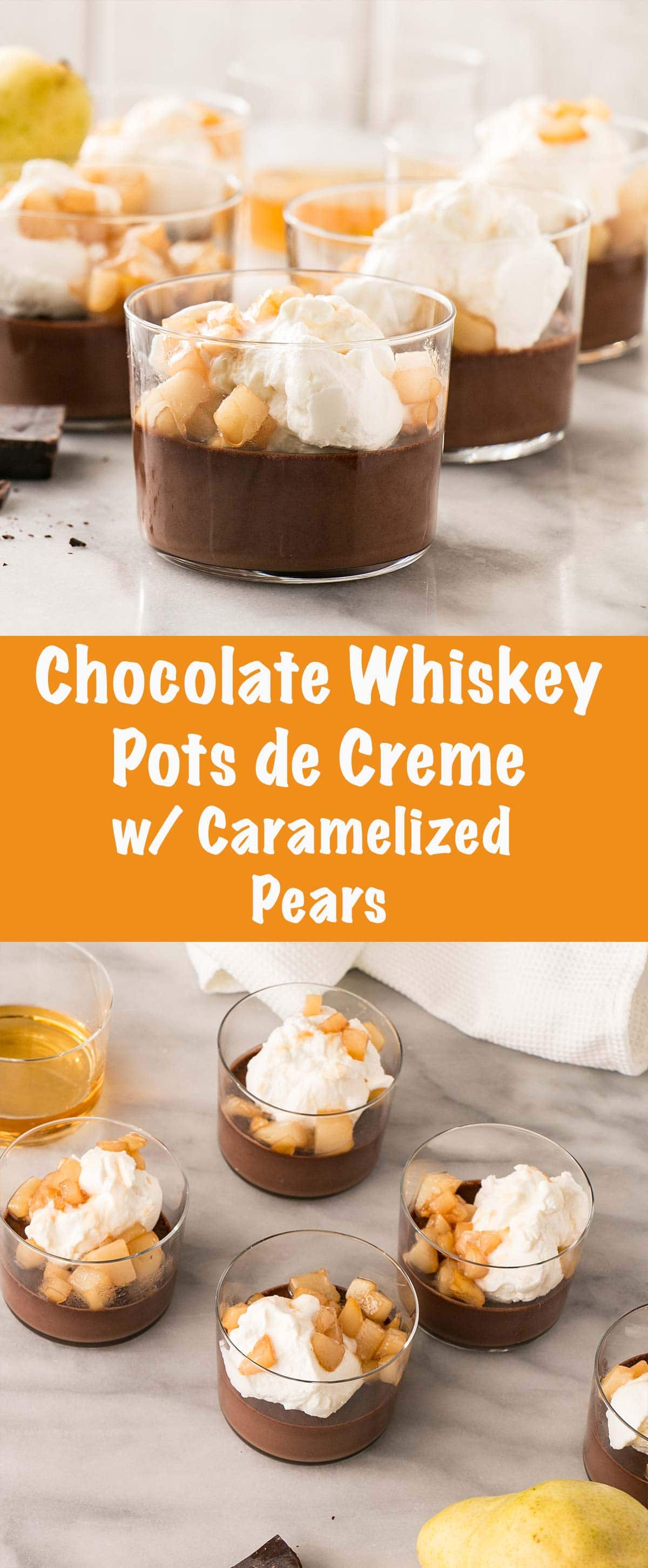 Chocolate Whiskey Pots de Creme with Caramelized Pears and Whipping Cream is an easy and decadent dessert to prepare for date night or make ahead for a showstopper of a dinner party dessert. #datenight #chocolate #dessert