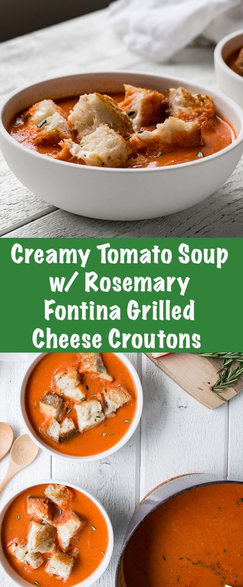 Creamy Tomato Soup with Rosemary Fontina Grilled Cheese for a cozy soup and grilled cheese experience. #comfortfood #soup #grilledcheese