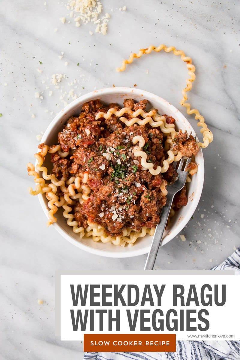 Weeekday Ragu in a white bowl with long telephone cord noodles.