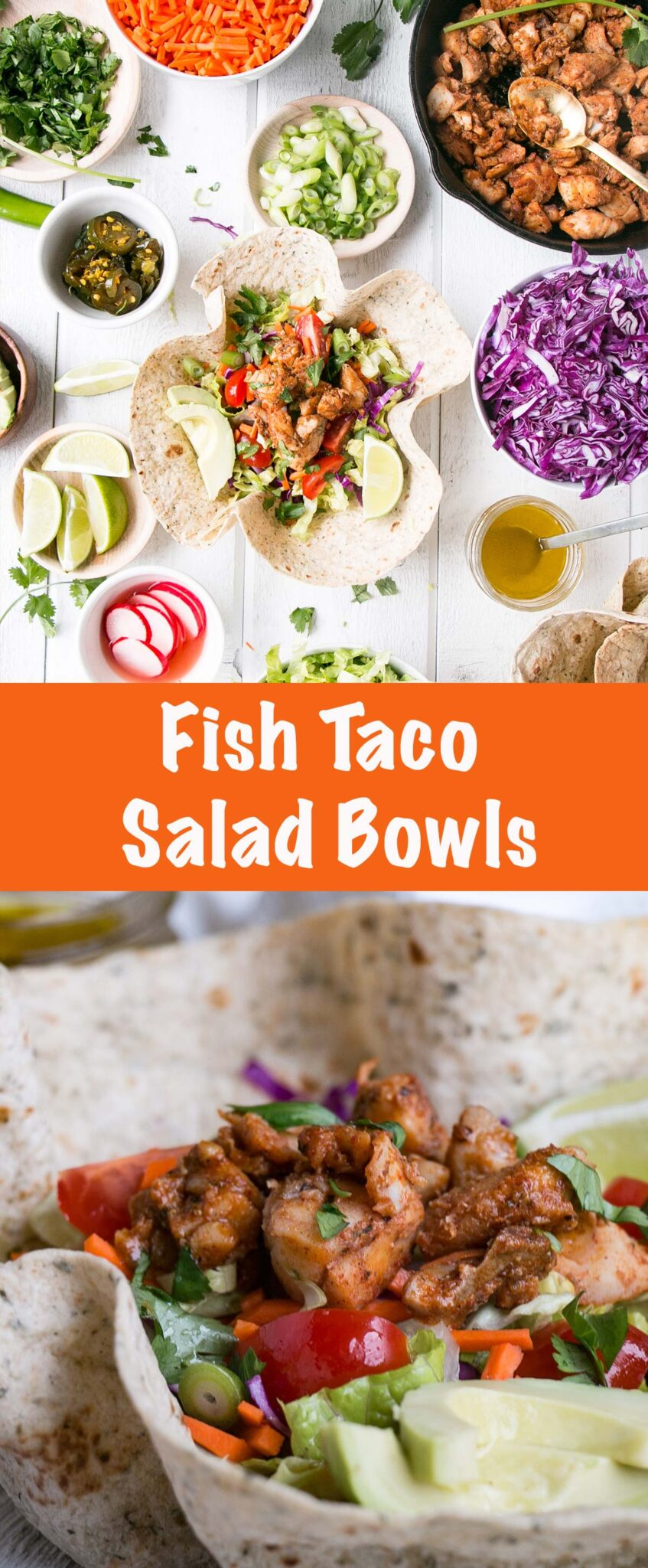 Eat the rainbow of deliciousness with these easy and quick to assemble Fish Taco Salad Bowls. Plus, eating the bowl is always more fun! #tacos #fishtacos #tacotuesday #healthy