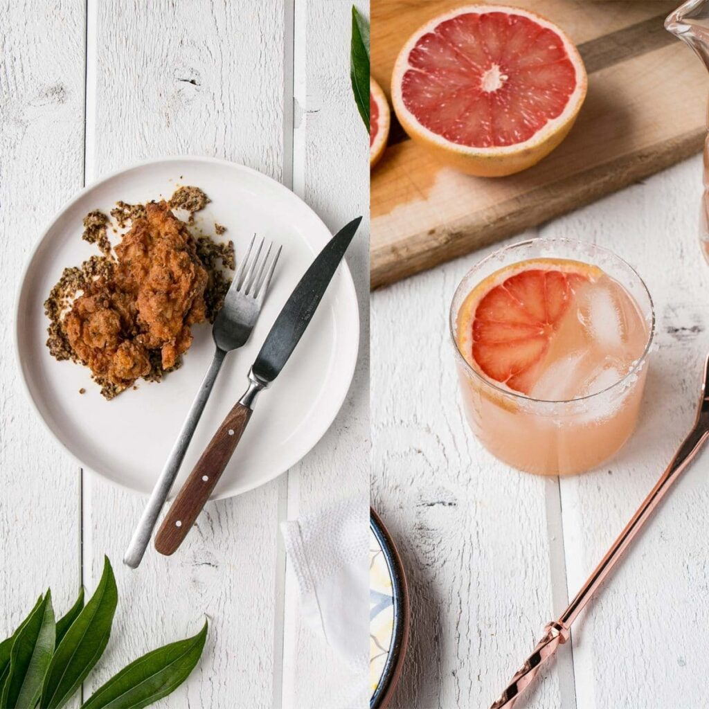 Homemade Buttermilk Fried Chicken and winter perfect Pink Grapefruit Margaritas. #chicken #margarita #cocktail #friedchicken