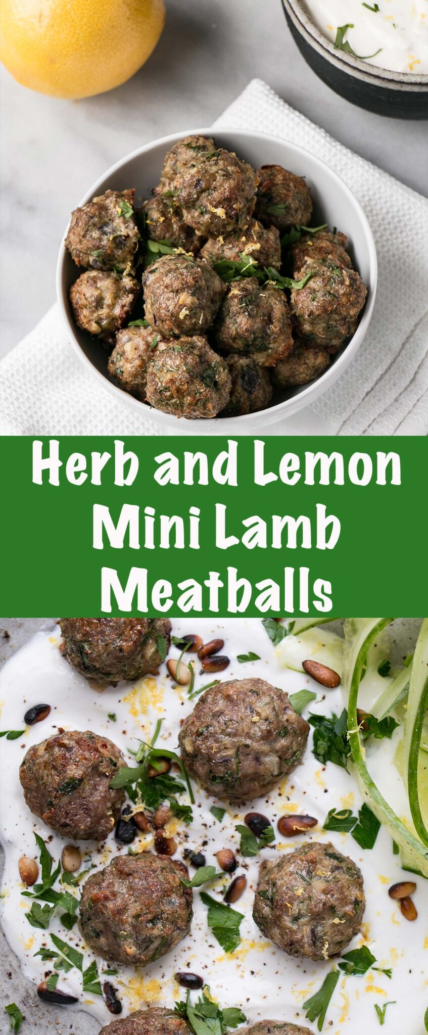 Mini Lamb Meatballs are a quick and easy way to bake juicy and tasty meatballs for dinner! Serve with yogurt and cucumber salad for a refreshing supper! #meatballs #lambs #dinner #weekdaydinner