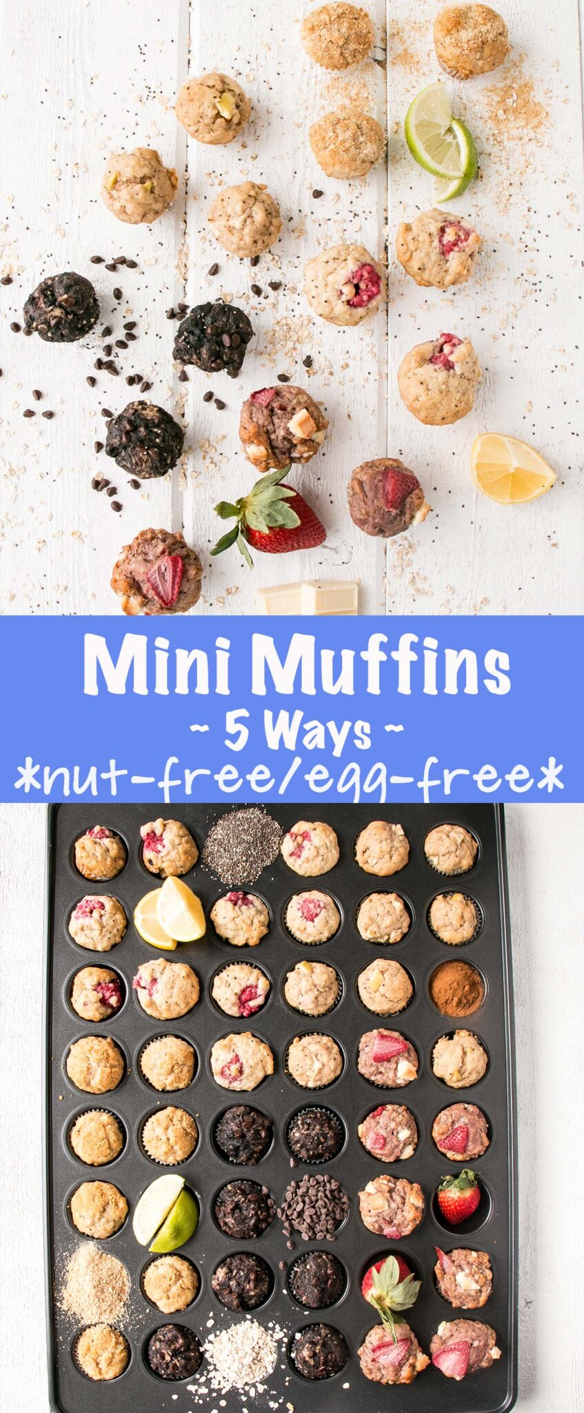 Mini Muffins 5 Ways are nut-free and egg-free making them perfect for school snacks and lunches. Or use as a way to pep up snacking at work. #muffins #schoolsafe #nutfree #eggfree