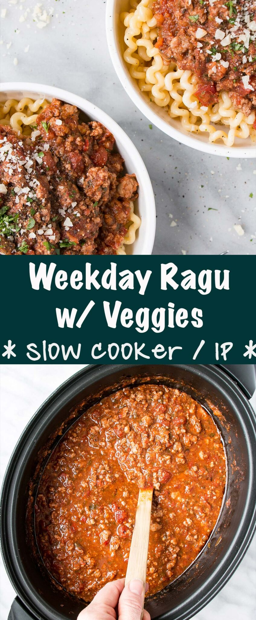 Weekday Ragù is packed with tons of vegetables and flavour! It's perfect for busy days and picky-eaters! Can be made in either a slow cooker or an instant pot! #instantpot #slowcooker #pastasauce #kidfriendly #comfortfood