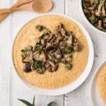 polenta topped with mushroom ragu