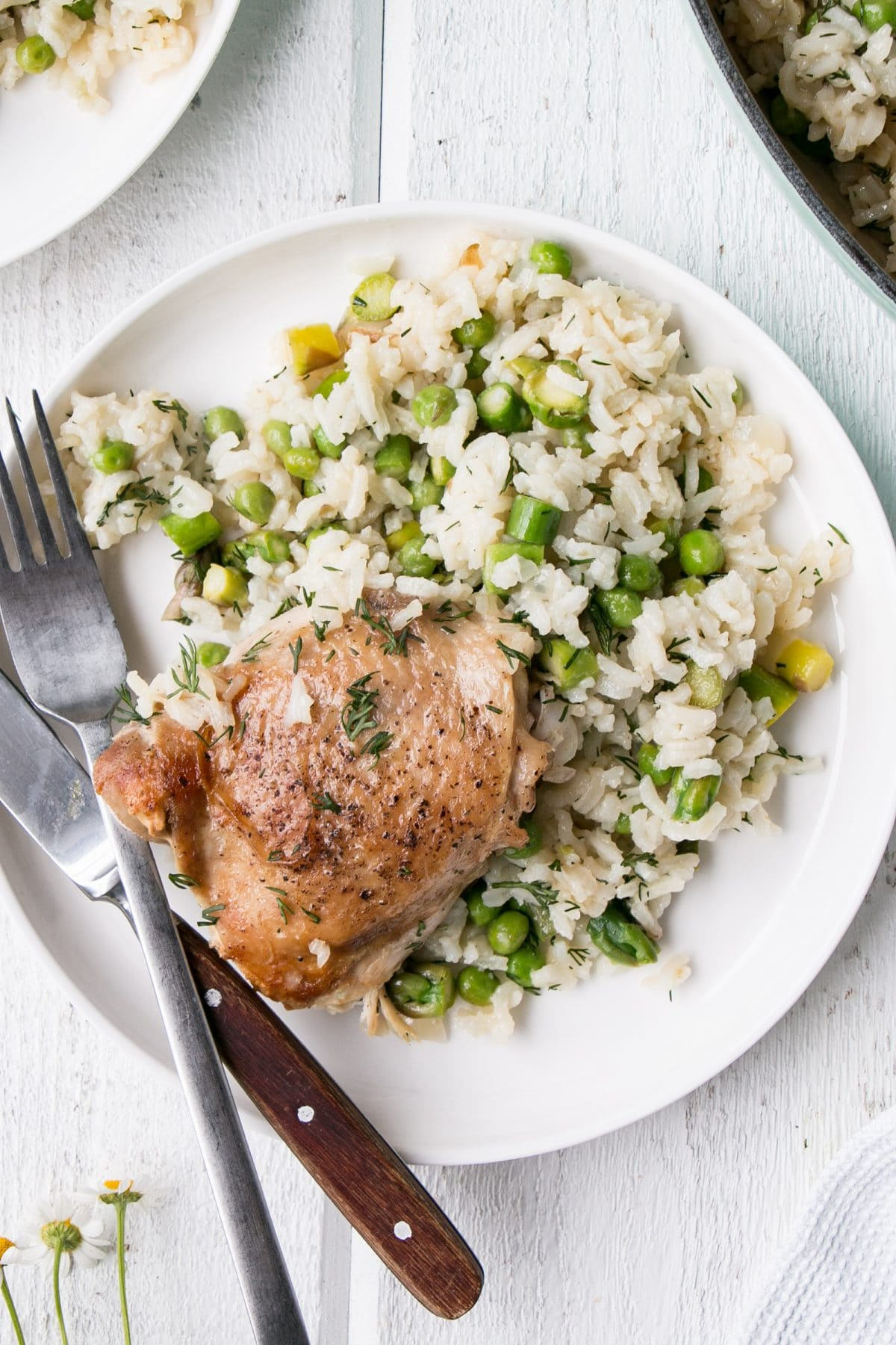 One Pot Chicken and Rice with Vegetables and Dill in a large pot served on a white plate