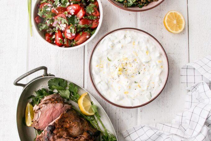 Curry spiced leg of lamb, spinach lentils, tomato salas and lemon yogurt
