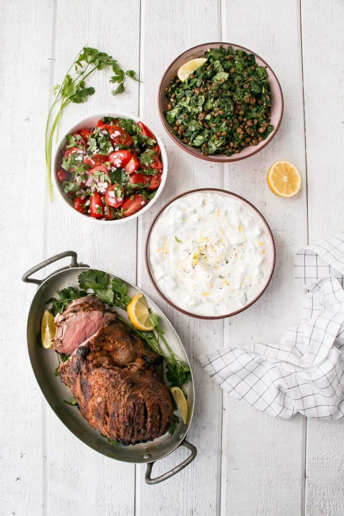 Indian-Spiced Lamb with Spinach Lentils, Salsa and Yogurt
