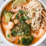 Prawn and Broccoli Red Curry in a white bowl