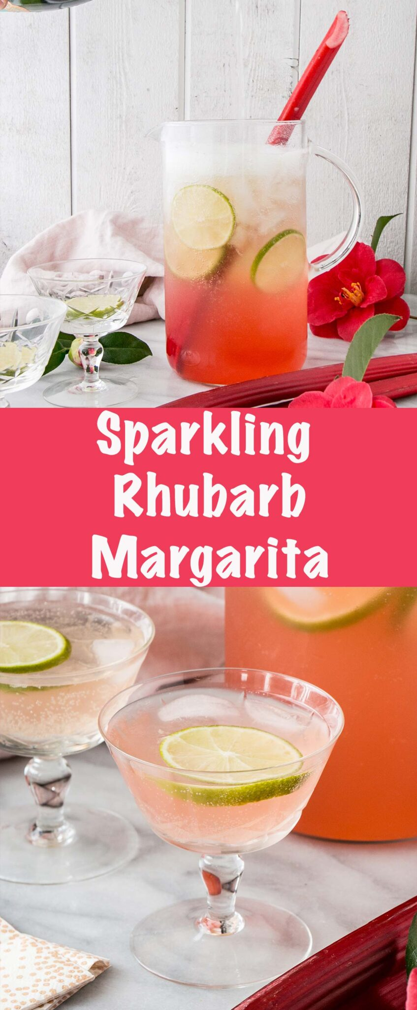 Long collage of Sparkling Rhubarb Margarita