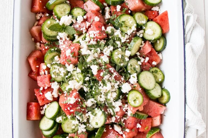 Watermelon Salad in a white serving tray