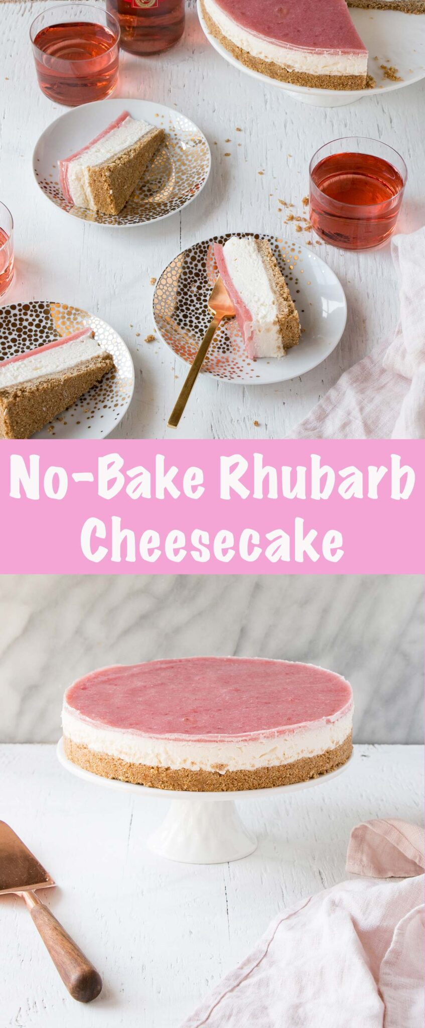 Long Collage of No Bake Rhubarb Cheesecake