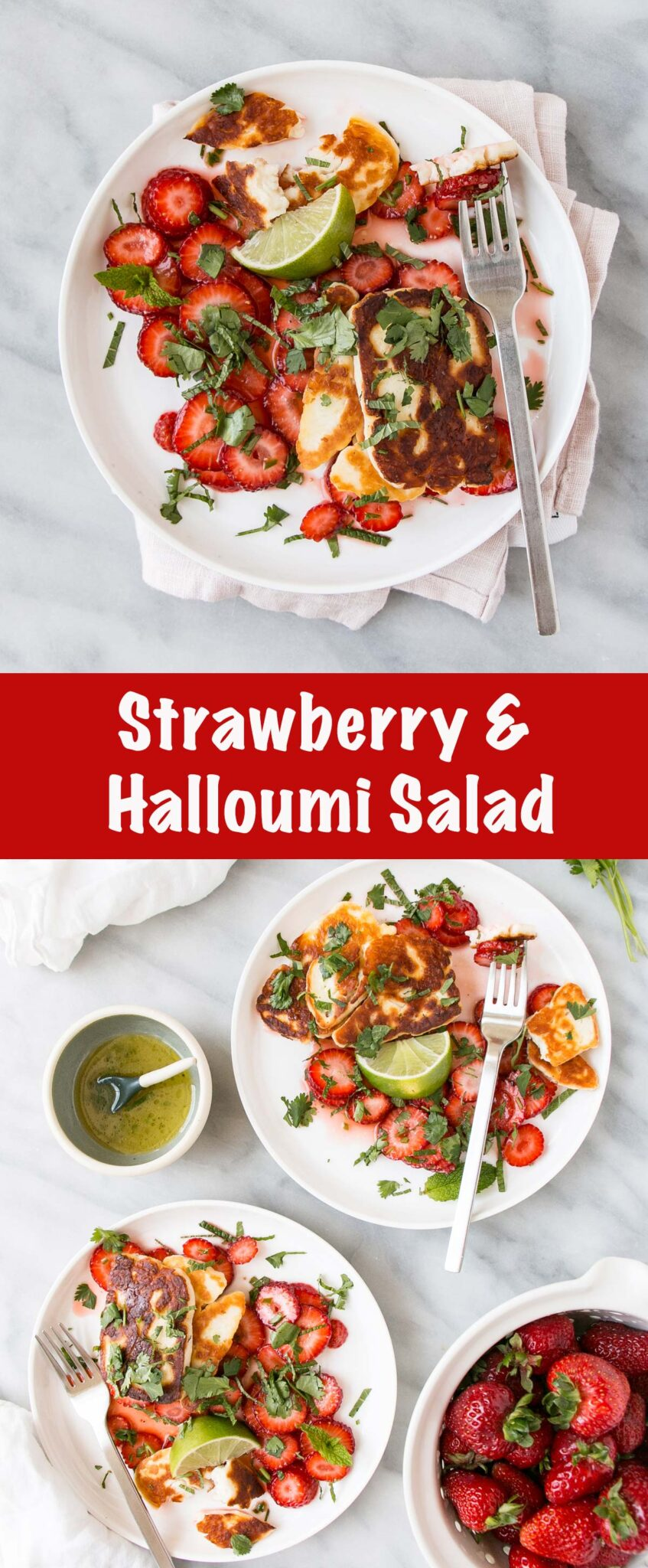 Halloumi and Strawberry Salad on white plates in a long collage.