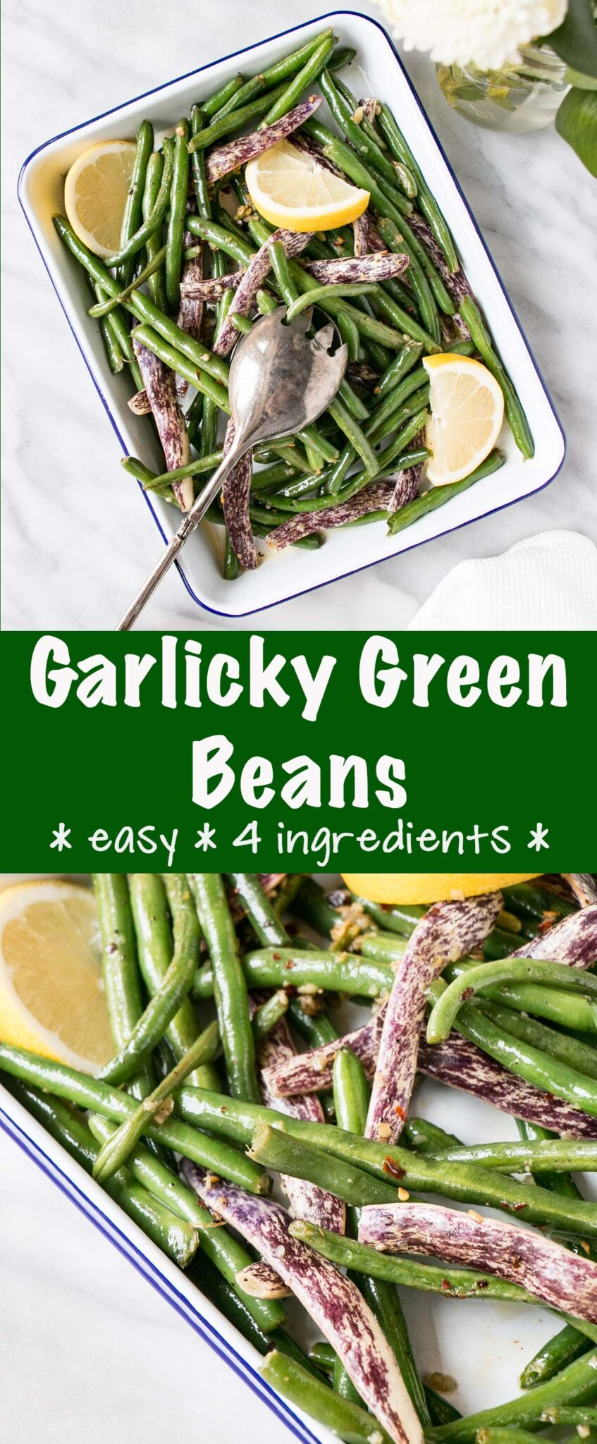 long collage of garlicky green beans