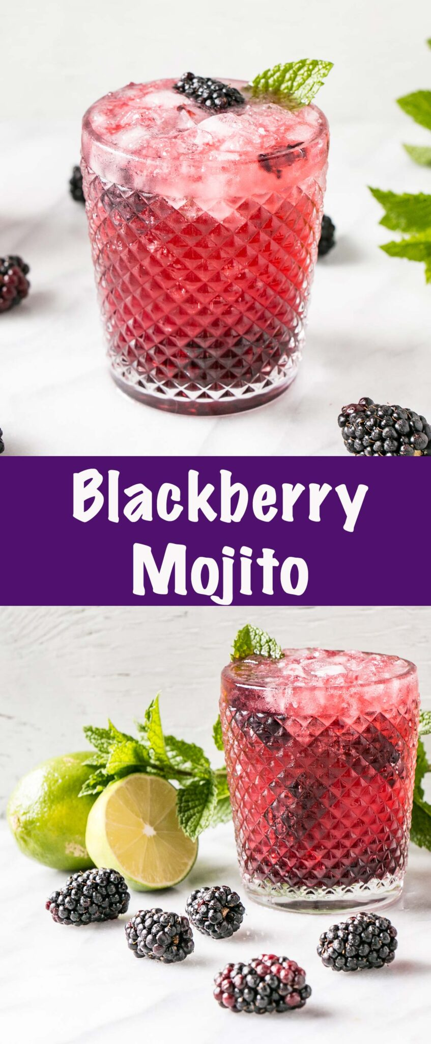 Blackberry Mojito recipe long collage