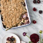 Cherry Crumble in a serving tray.