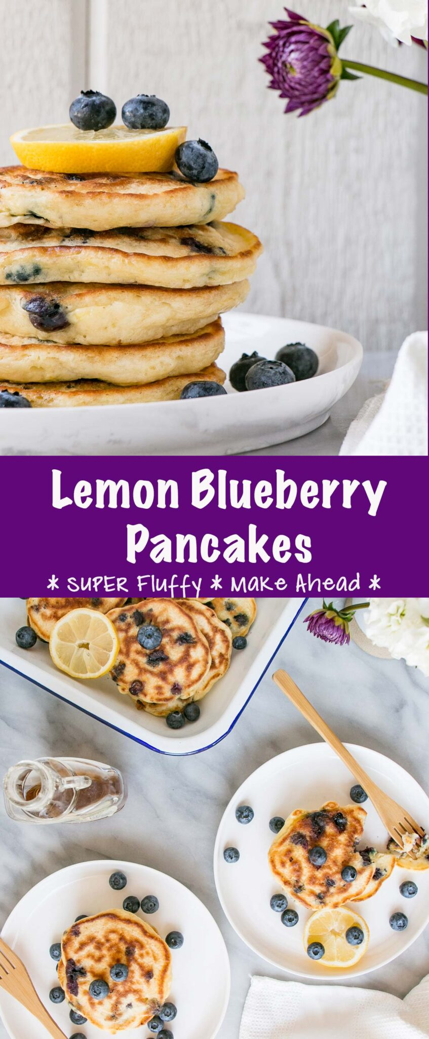 Fluffy Lemon Blueberry Pancakes long collage