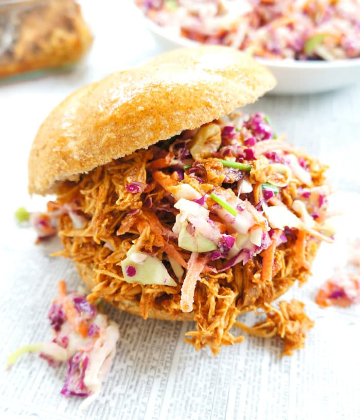 slow cooker roundup - pulled chicken sandwiches