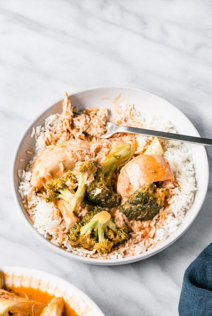 Slow Cooker Tomato Coconut Chicken and Broccoli in a bowl