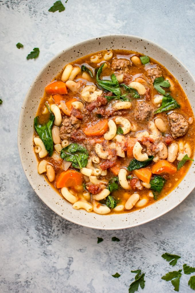 Italian Sausage Soup in a grey bowl.