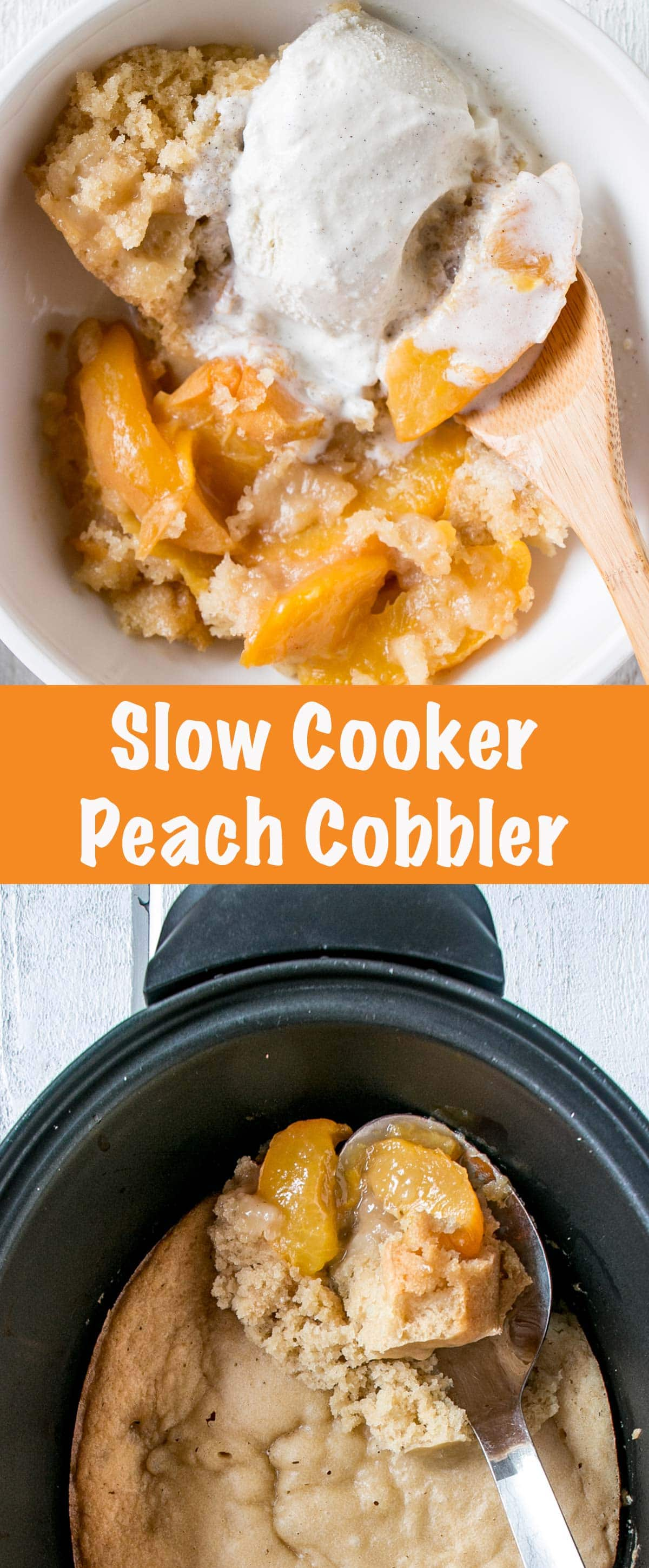 Slow Cooker Peach Cobbler long collage