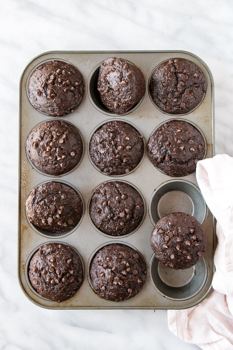 Chocolate Zucchini Muffins in tin.