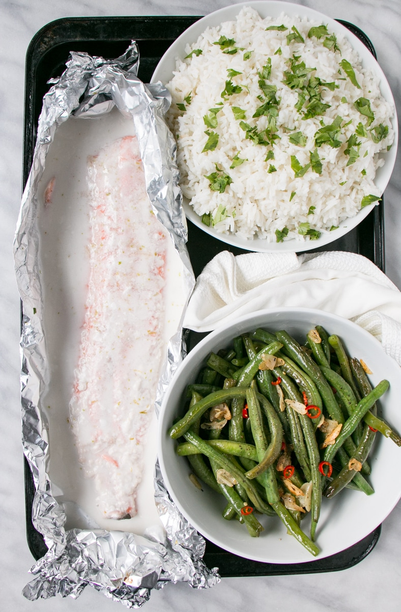 Coconut Lime Salmon with coconut rice and spicy green beans.