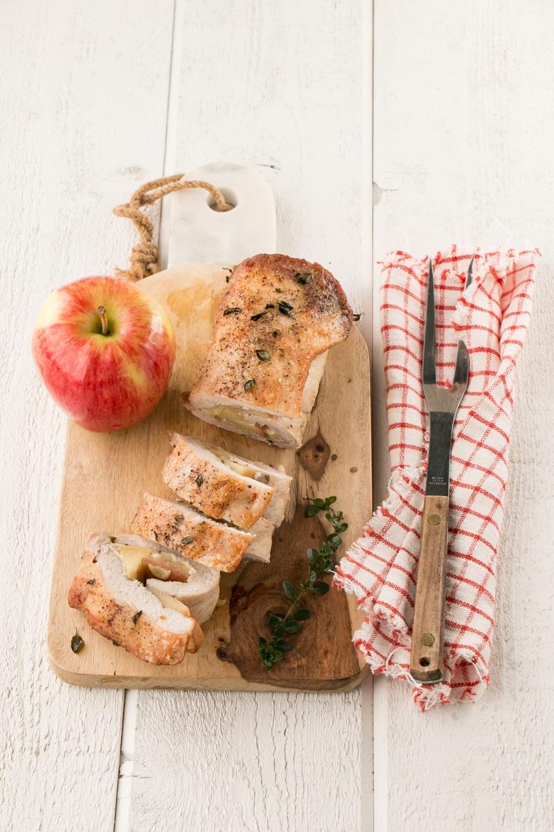 Apple and Brie Pork Tenderloin with an apple