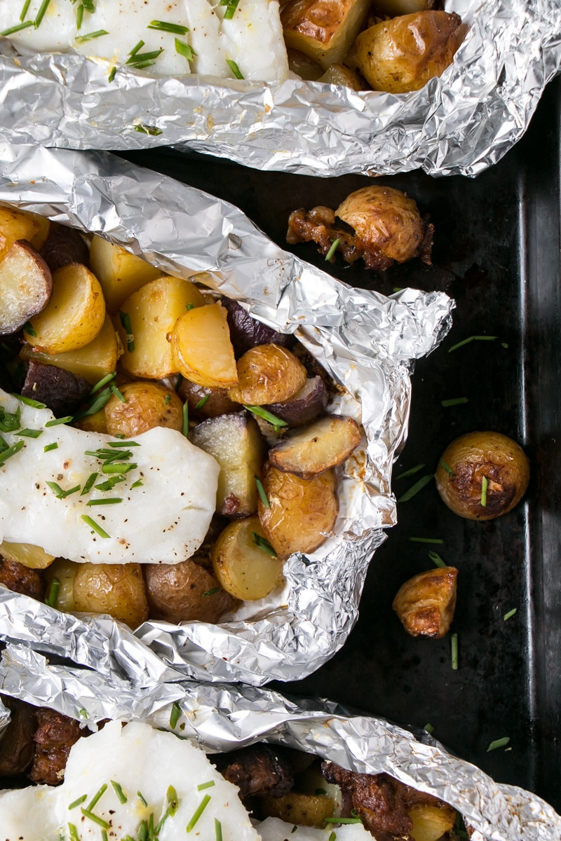 Cod, Chorizo and Potato Foil Packets