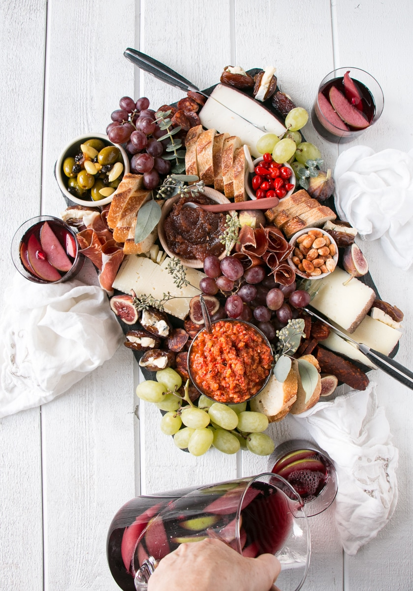 Spanish Charcuterie Board with Sangria.