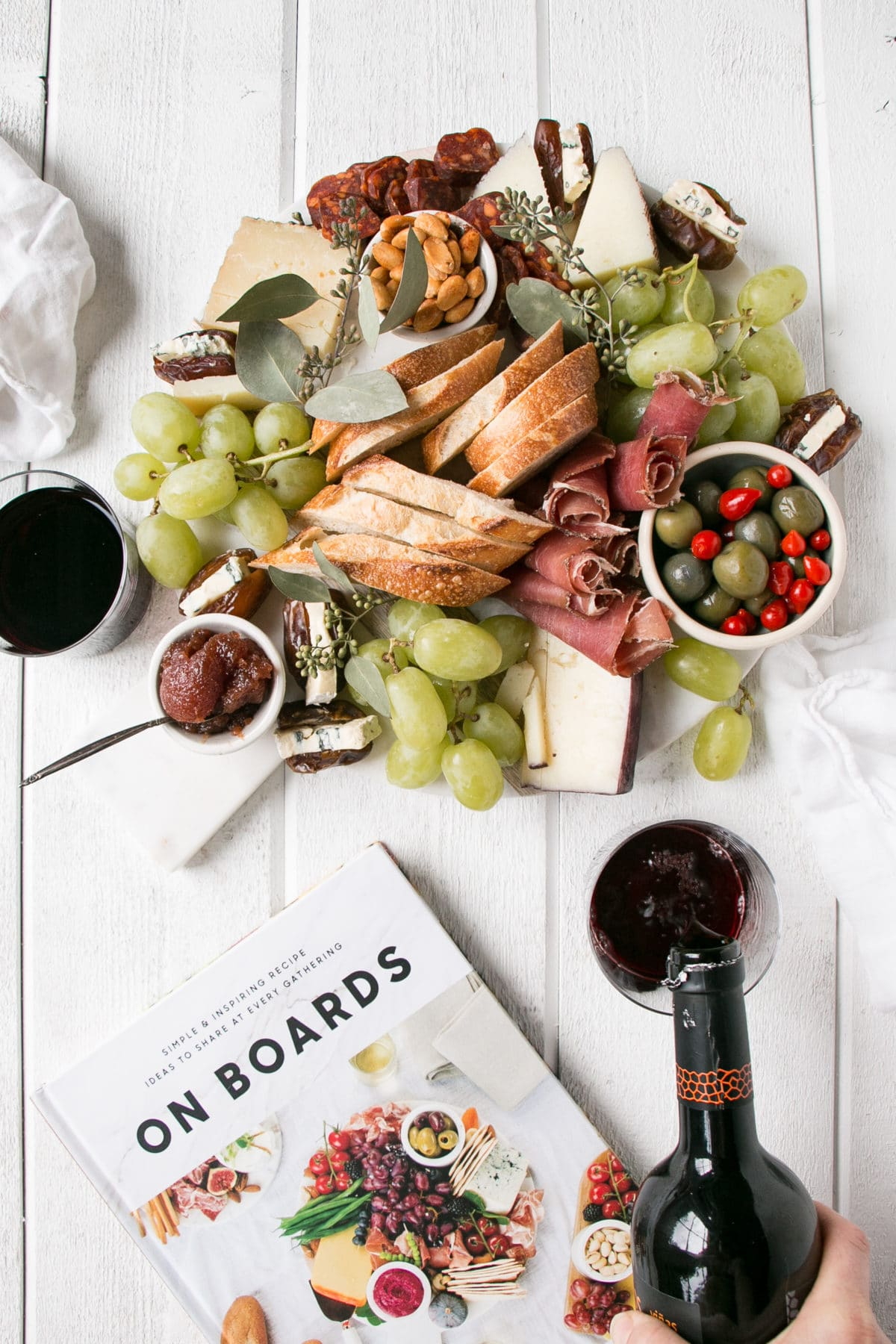 Spanish Cheese Board with red wine