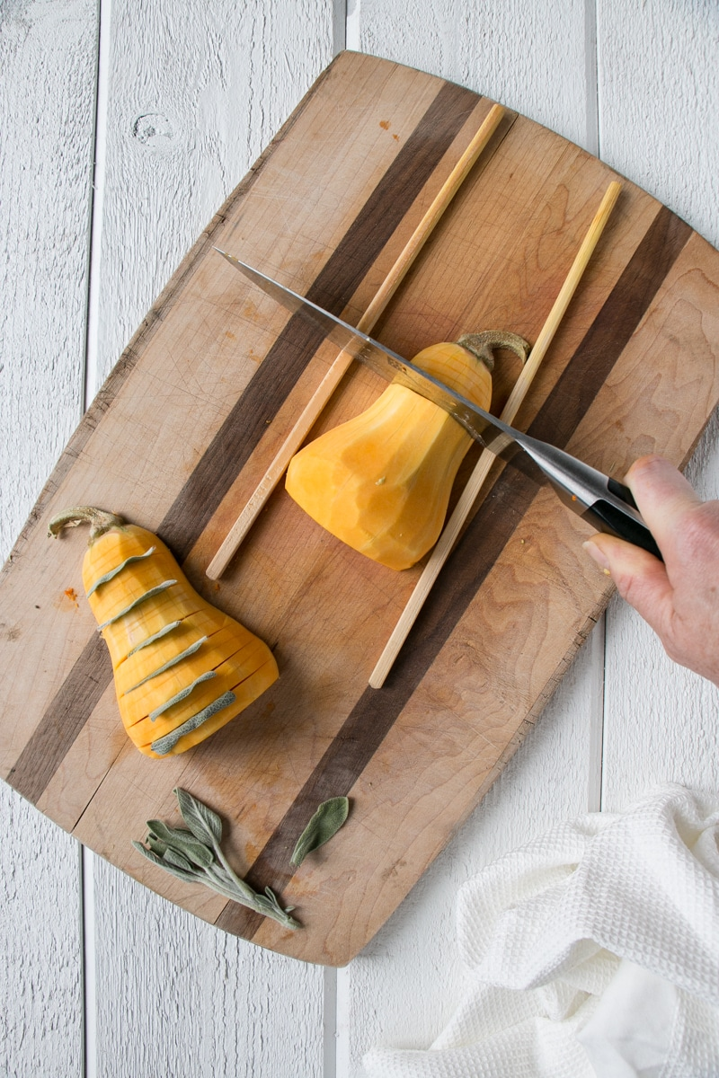 How to hasselback butternut squash using chopsticks and a knife