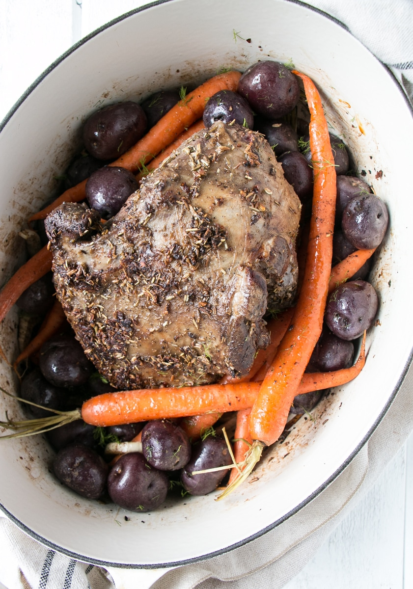 Holiday Lamb Roast in a white pot