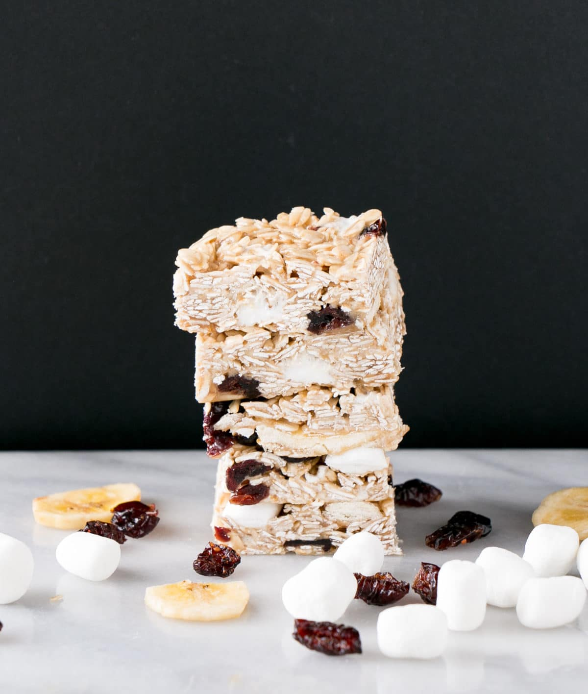 Marshmallow and Dried Fruit Granola in a stack.