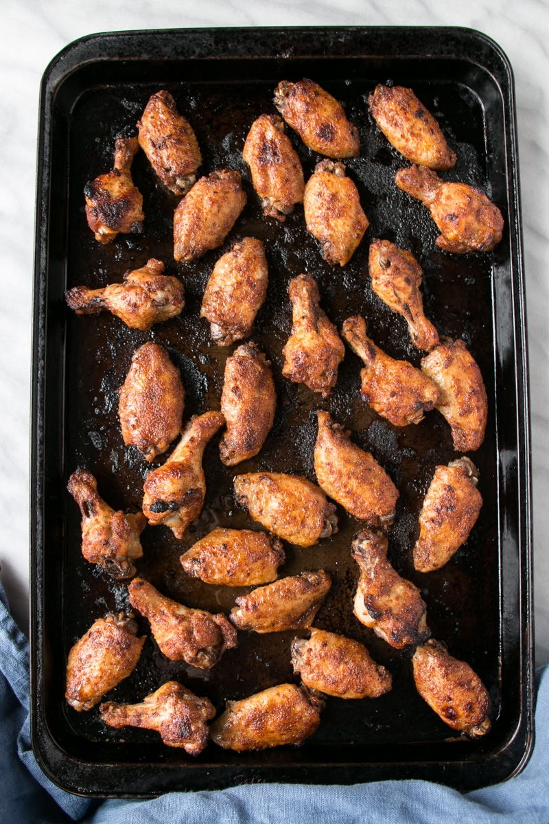 IP Chili Lime Chicken Wings on a baking sheet.