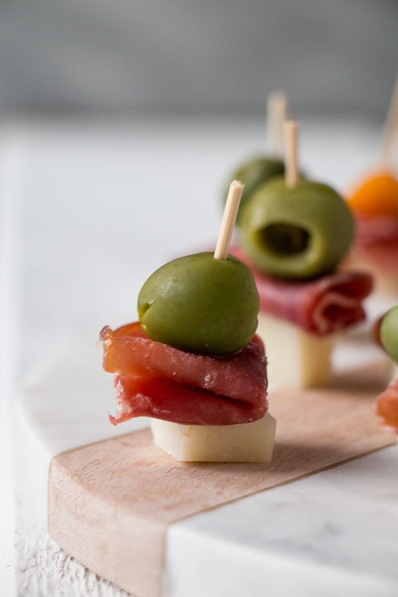 Cheese, Ham and Olive Bites