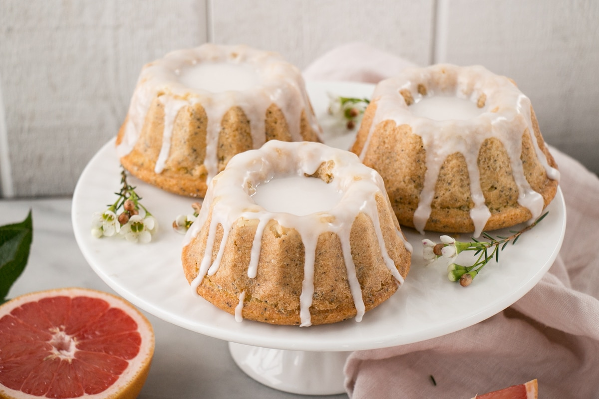 Mini Grapefruit Poppyseed Bundt Cakes
