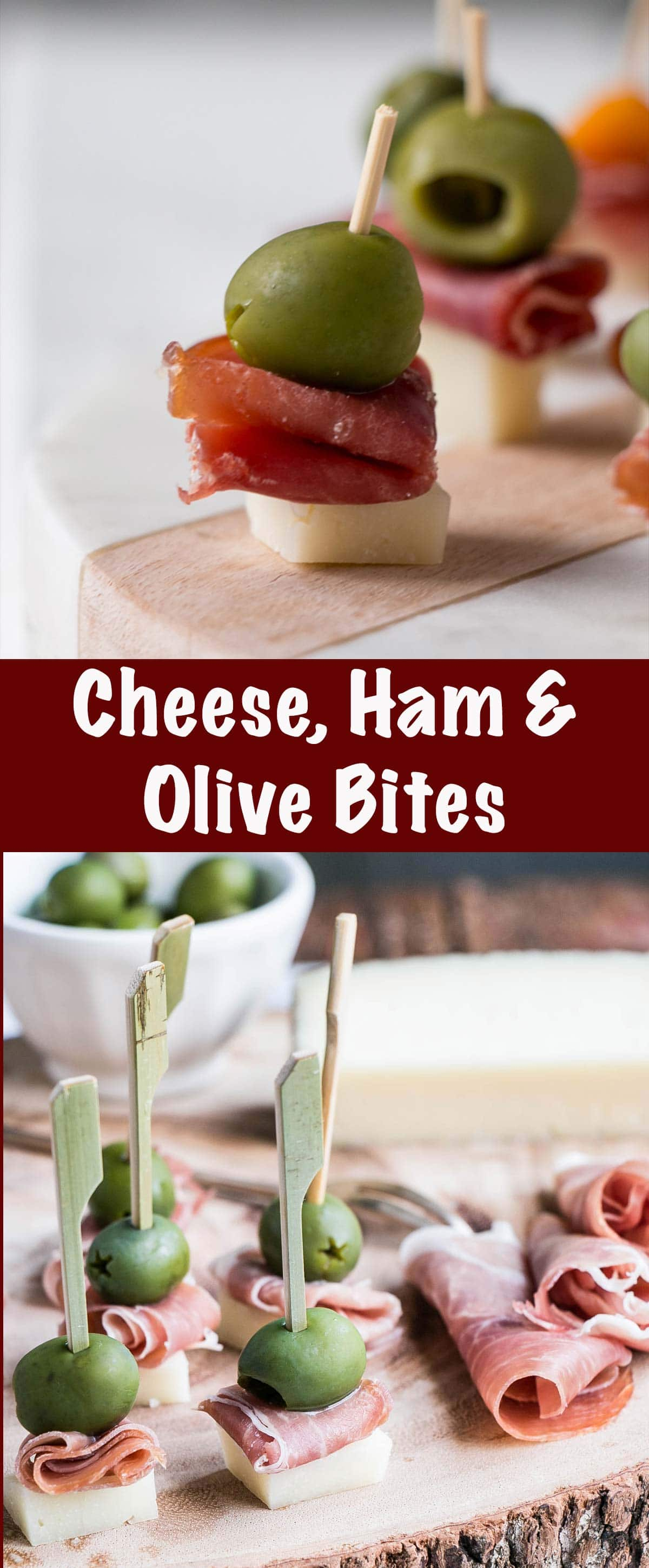 Cheese, Ham and Olive Bites Pin