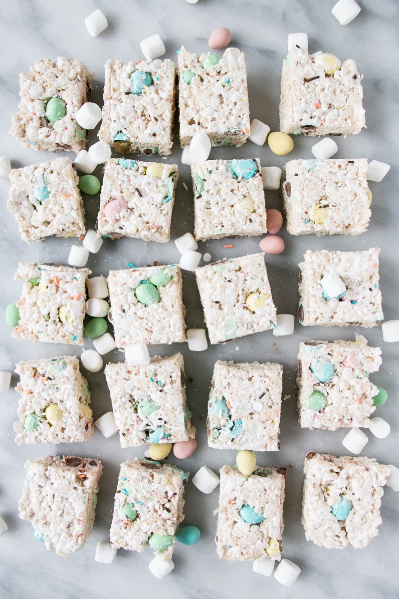 easter rice krispie treats cut up