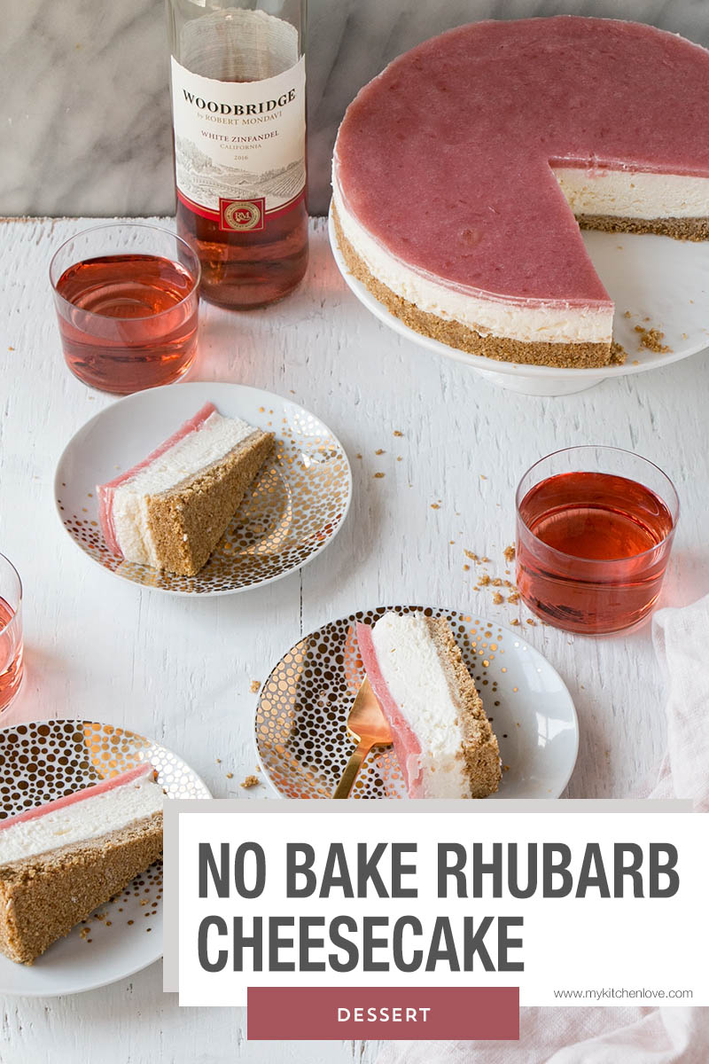 No Bake Rhubarb Cheesecake with cut slices on plates