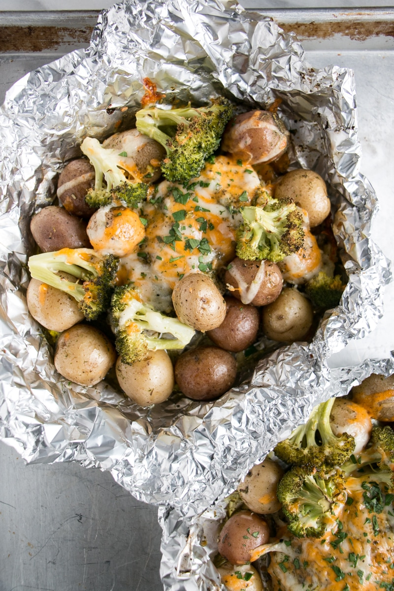 Cheesy Chicken and Potato Bake with broccoli in a foil packet