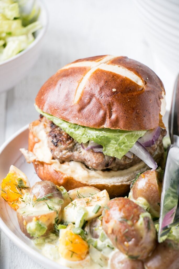 Apple Mustard Pork Burgers