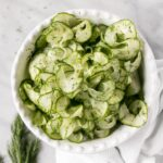 4-Ingredient Cucumber Salad in a white bowl