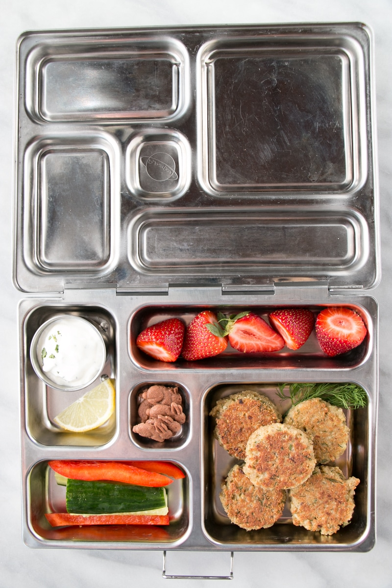 Quinoa Patties in a lunch box.