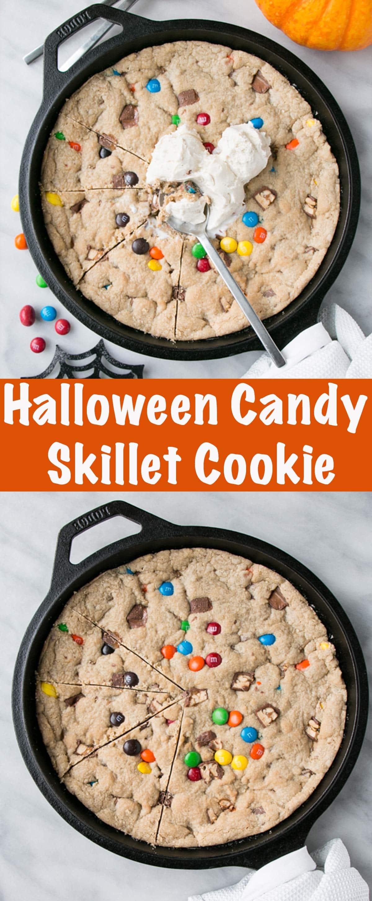 Leftover Halloween Candy Skillet Cookie Long Pin