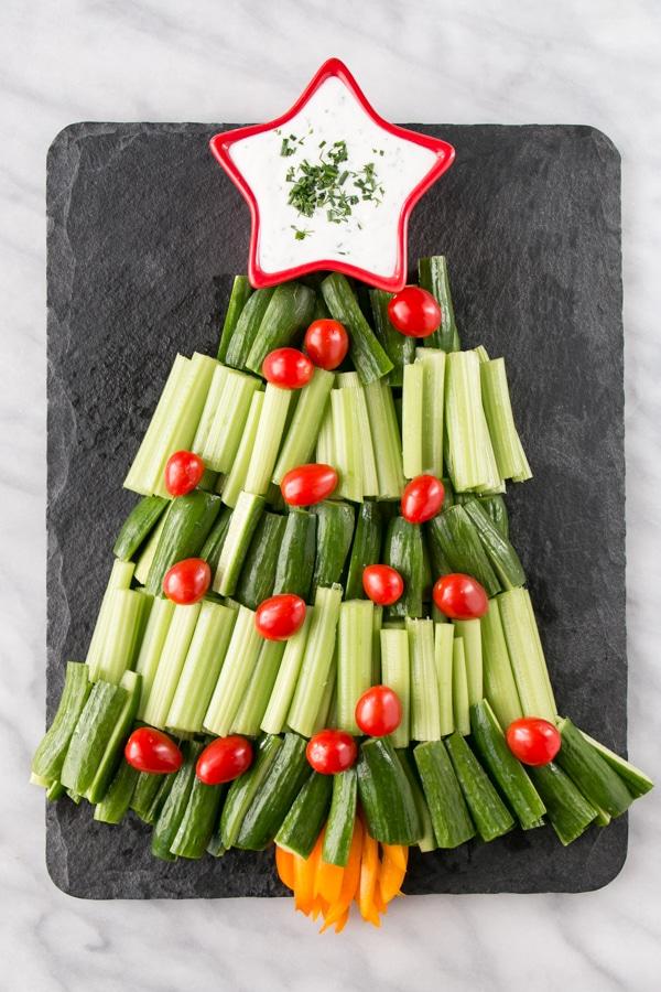 Christmas Tree Veggie Tray w/ Homemade Buttermilk Dip