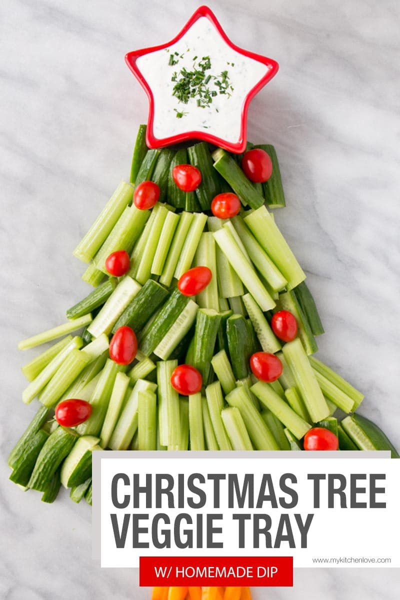 Christmas Tree Veggie Tray w/ Homemade Buttermilk Dip - Short Pin