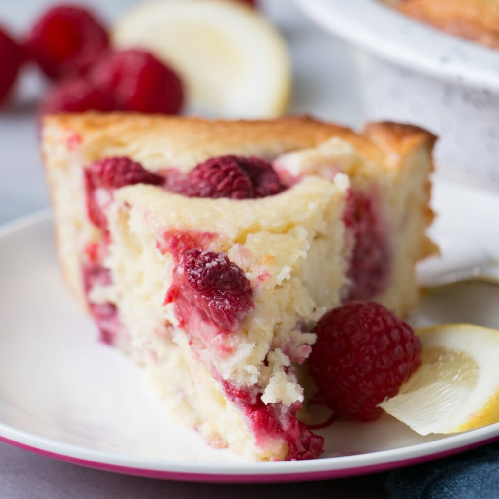 Lemon Raspberry Ricotta Cake slice