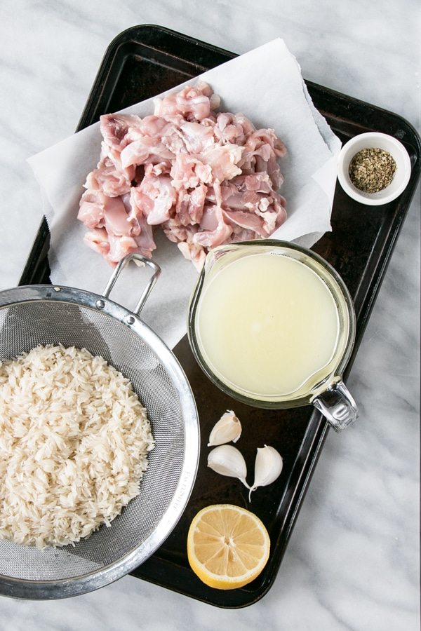 Greek Instant Pot Chicken and Rice prep photo