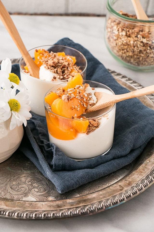 Peach Yogurt Panna Cotta with Cinnamon Granola